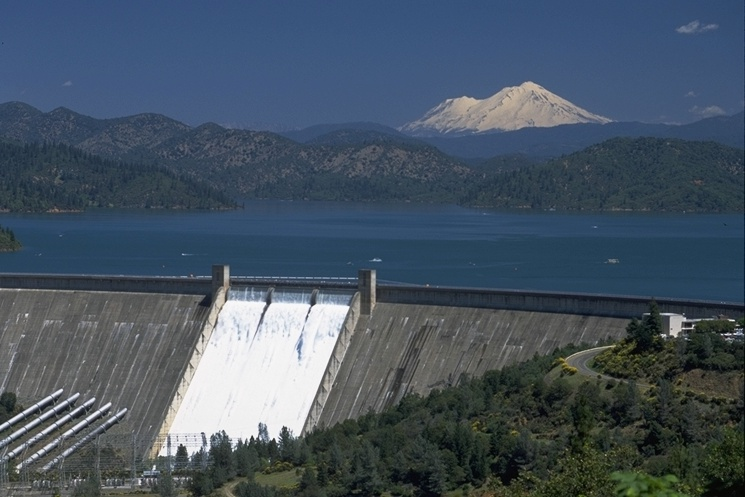 "Shasta Dam, Shasta Lake, and Mount Shasta: some know this photo and others like it as the ""Three Shasta's"""