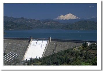 Shasta: The Mountain, Lake, and Dam.  The water flows from the Dam and is released into the Sacramento River