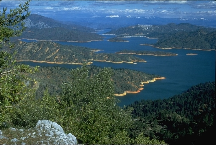 Shasta Lake and the Mt. Lassen range in the distance