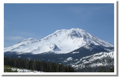 Mt Shasta is located to our north.