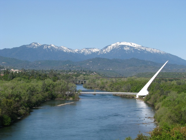 Redding CA, Sundial Bridge and the Sacramento River
