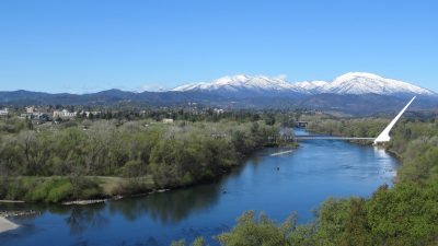 Sundial Bridge in Redding and the Sacramento River